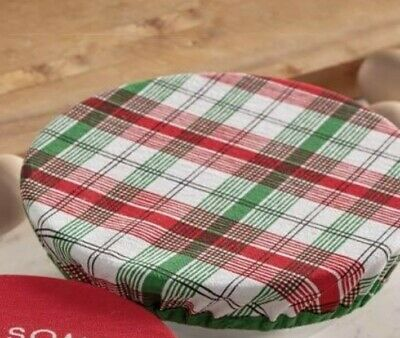 Set of 2 Victorian Trading Co Plaid Cotton Bowl Covers