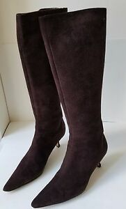 5f0e141c3a2 Details about Jimmy Choo brown suede kitten heel tall boot w/ pointed toe 39