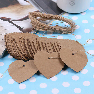 100x Heart Kraft Paper Wedding Party Gift Card Label Blank Luggage Tags + String