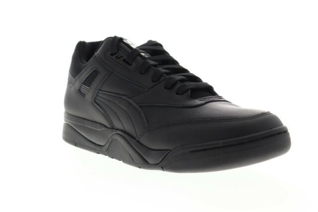 Puma Palace Guard Mens Black Leather Low Top Lace Up Sneakers Shoes