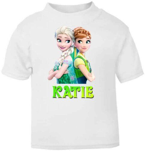 Girls Personalised Kids Frozen Sisters Soft T-Shirt Childrens Short Sleeve