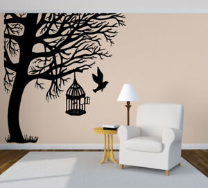 Wall Art Vinyl Sticker Bird Cage Tree Birch Oak Wood Forest Brench Jungle Zx454 Ebay