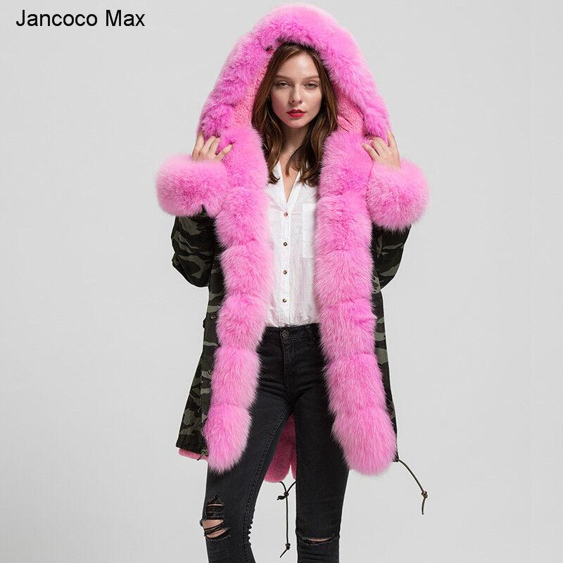 Nuevo abrigo con capucha de piel de  zorro real de invierno Parka Chaqueta de Camuflaje Abrigo grueso 61739  con 60% de descuento