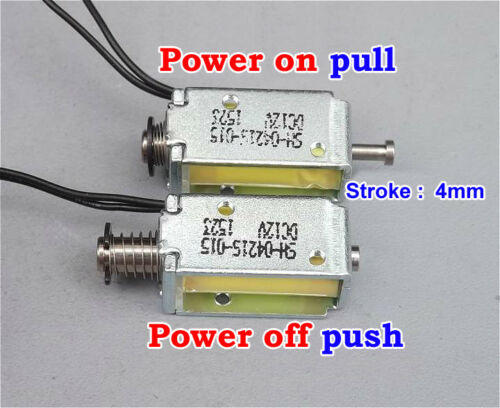 12V DC Suction Micro Electromagnet Spring Push Pull Type Rod Solenoid Magnet 4mm