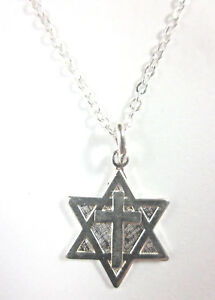 """Messianic Silver Plated Small Star of David Cross Pendant Necklace 20"""" Chain"""