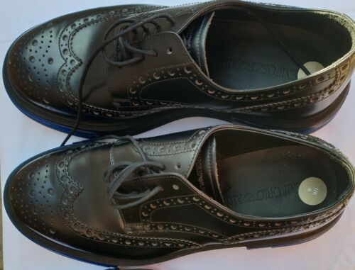 Emporio 450 eu39 Scarpe Uk6 Italian Gents Rrp £ Armani nere Uomo Authentic Black 5nYaf