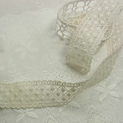 3 Yards Vintage Style Embroidered Scalloped Cotton Fabric Tulle Lace Trim Doll