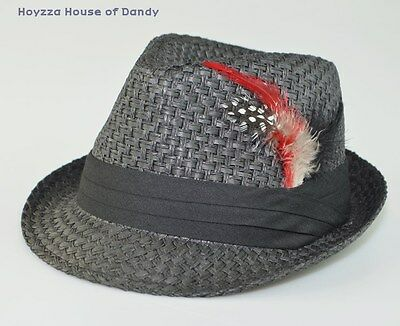 Mens Summer Trilby Fedora Hat 100% Paper With Feather Black/Black Band S/M, L/XL