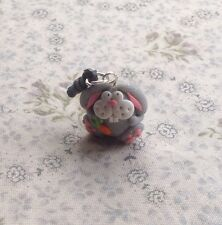 anti dust plug Easter Bunny Rabbit Silver Fimo Handmade Cute Gift
