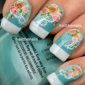 Vintage-Roses-amp-Lace-Nail-Art-Wraps-Water-Transfers-Decals-YD007