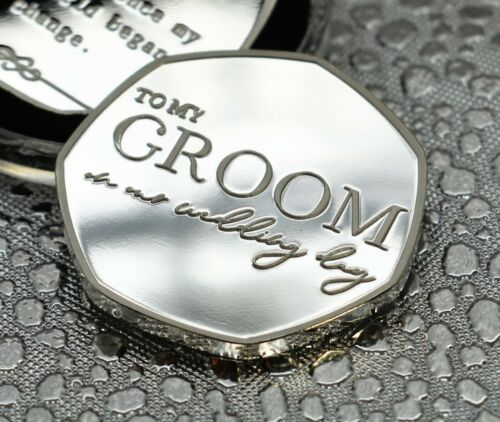 /'To My Groom on our Wedding Day/' Silver Commemorative Gift//Present//Favour