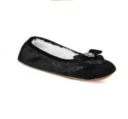 NWT INC International Concepts Embellished Ballerina Slippers in Black XL 11/12