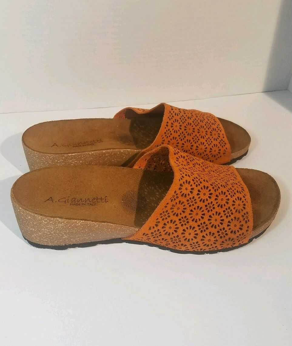 A.Giannetti Orange perforated slip suede cork wedge slides slip perforated on sandals 8.5 f2534d