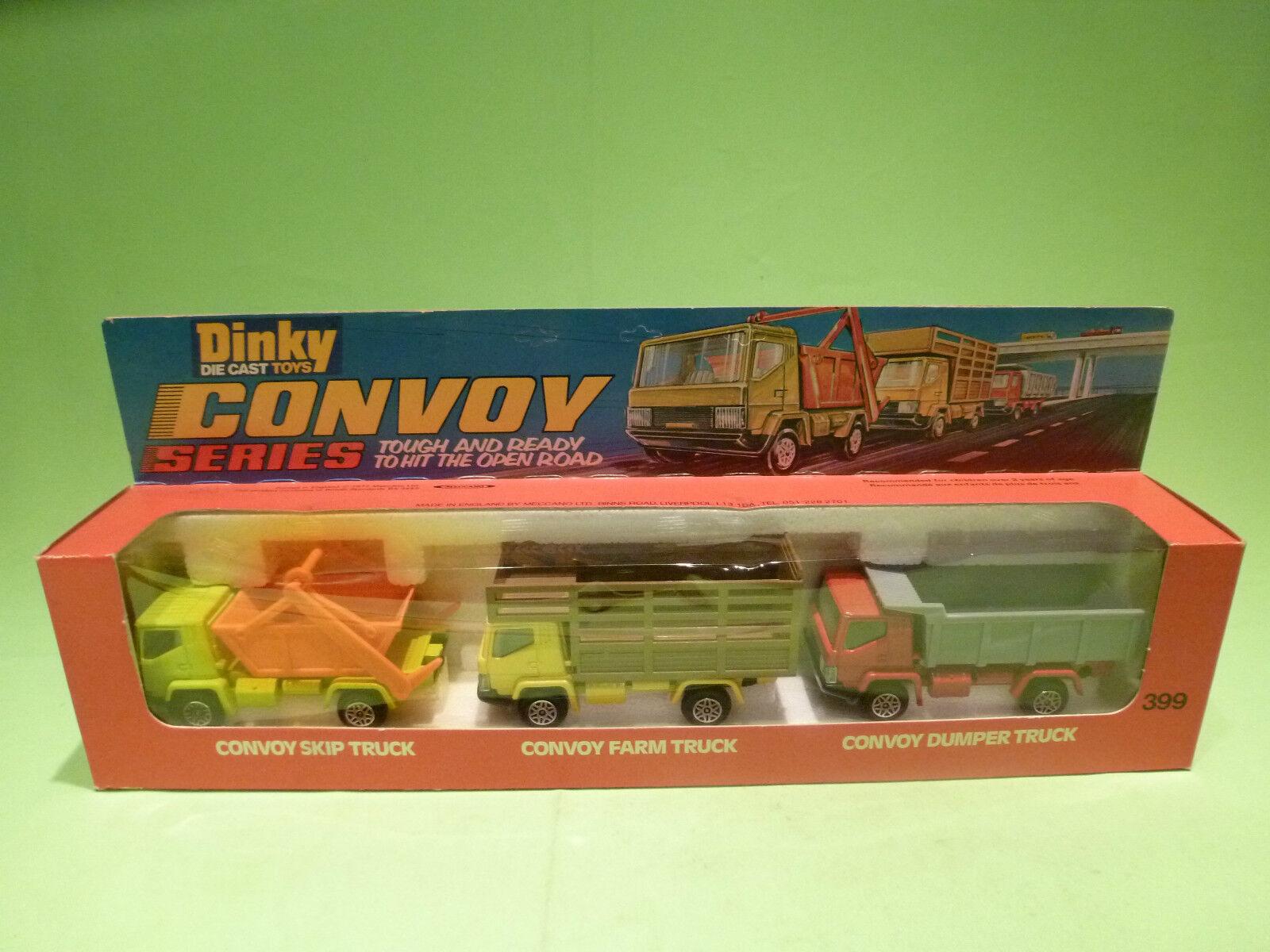 DINKY TOYS 399 CONVOY SKIP + FARM + DUMPER TRUCK - RARE SELTEN - GOOD IN BOX
