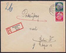 DR Mi Nr. 525, 519 MiF auf R- Postauftrag Wiesenburg - Berlin 1938, Dt. Reich