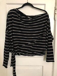 9d456ce62 Free People Love Lane Tee Shirt S Black Oversized Off Shoulder Tie ...