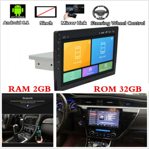 "9/"" Single Din Android 8.1 Quad-core RAM 2GB ROM 32GB Car Stereo Radio GPS Wifi"