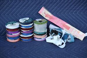 Large-18-pc-lot-of-Ribbon-Trim-Spools-Sewing-Craft-New-amp-Used