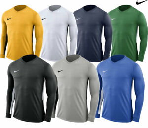 Nike-Homme-Tiempo-Premier-Maillot-a-manches-longues-Dri-Fit-Football-T-shirts-Kits-Sport