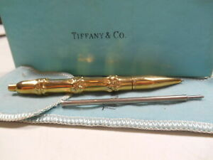 Tiffany & Co 14K Gold Bamboo Ink Pen Vintage RARE Pouch & Box Writes! Exc. Cond.