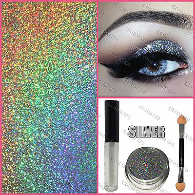 Glitter Eye Shadow Fix Gel Glue Applicator Brush Silver loose Makeup Holographic