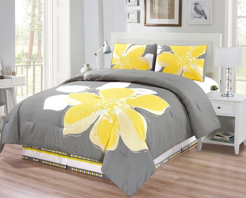 4 Pc Gelb, grau, Weiß Hibiscus Floral FULL Größe Comforter Set Bedding