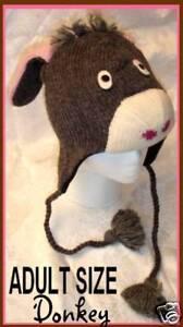 DONKEY HAT knit ADULT mule burro eeyore costume FL LINED animal cap MENS WOMENS