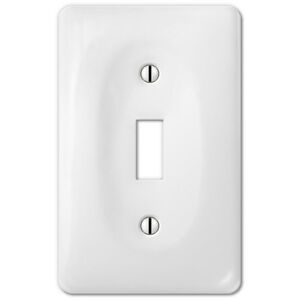 White Porcelain Toggle Switchplate Ceramic Wall Plate Outlet Rocker