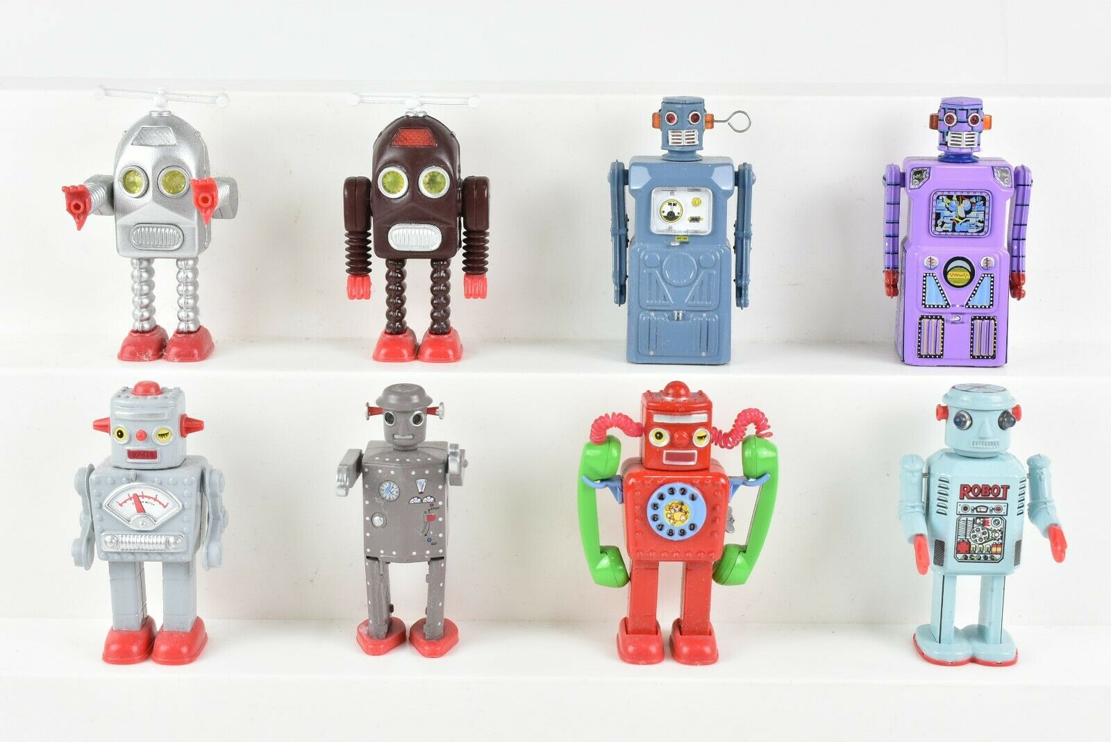 8 Masudaya Apple Tin Age collezione Miniature Diecast Robots Mr Kitahara