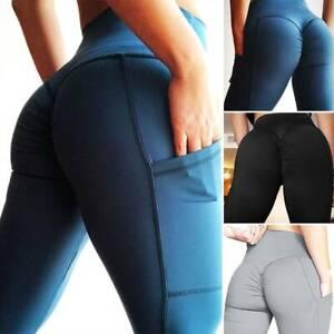 Women-039-s-Yoga-Pants-High-Waist-Fitness-Scrunch-Butt-Gym-Capri-Workout-Leggings-US