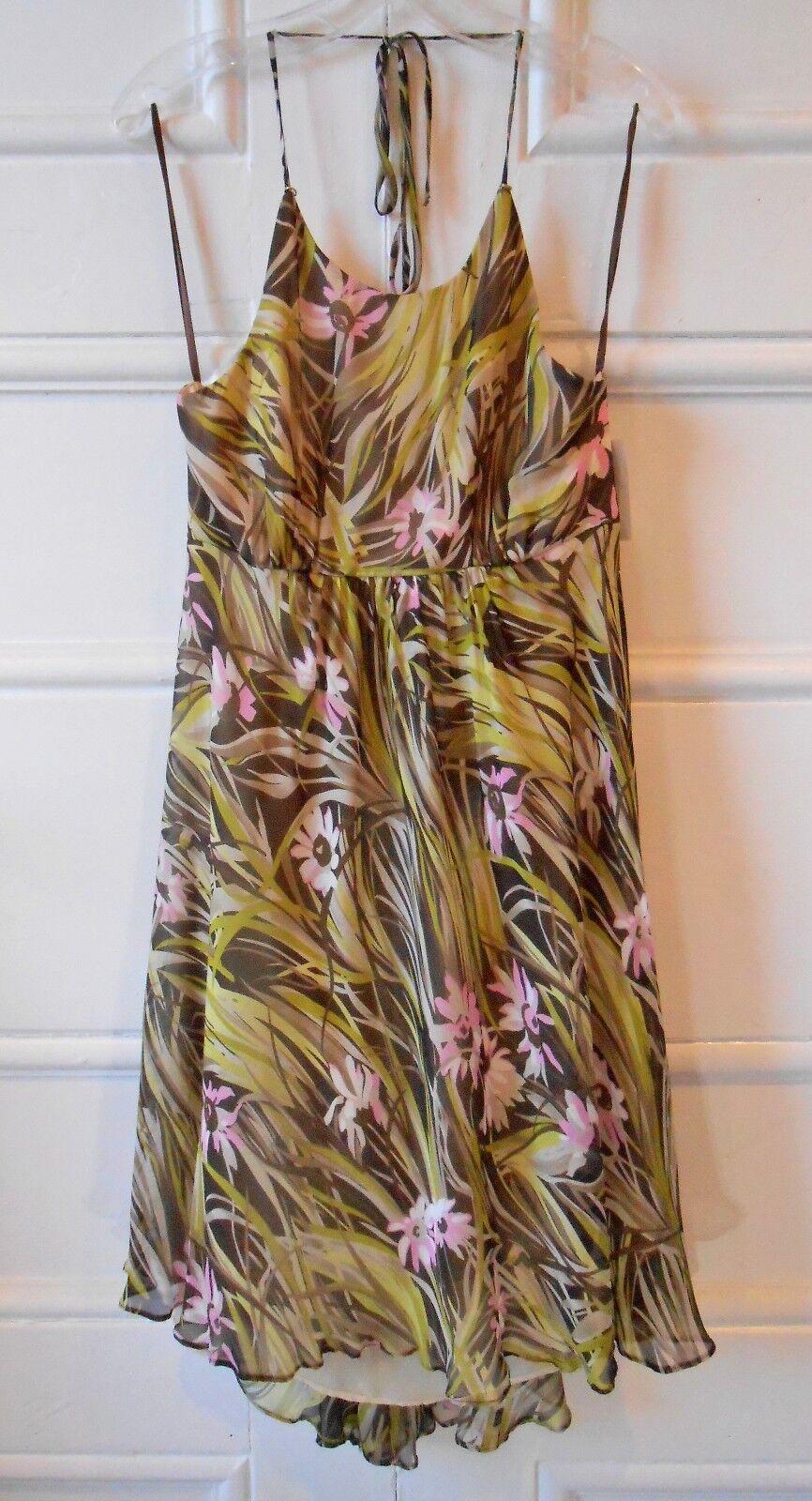 NWT- Milly 100% Silk Floral-Leaf Print Print Print Halter Maxi Sundress - Size 10 987593