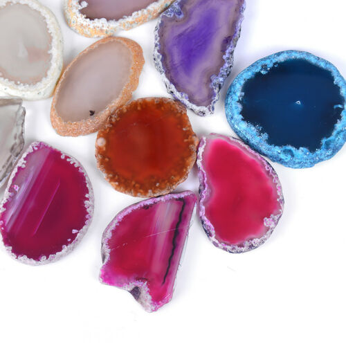 Agate polished irregular geode quartz crystal slice healing stone pendant decorE