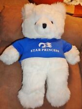 "Bear White LG 19"" Blue Star Princess Shirt Stuffed Plush Creations Inc VTG 1986"