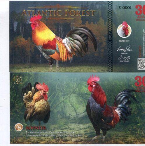 ATLANTIC FOREST 30 AVES DOLLARS ROOSTER 2017 SPECIMEN UNC