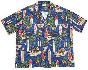 VTG-Aloha-Republic-Hawaiian-Camp-Shirt-Surf-Boards-Palm-Trees-Mens-Size-3XL-EUC