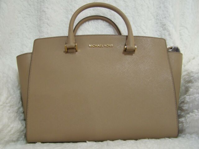 Michael Kors Selma Large 2 Strap Saffiano Leather Top Zip Satchel Dark Khaki