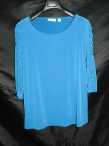 Susan-Graver-1X-Blue-Liquid-Knit-Shirt-3-4-Sleeves-Ruched-Side-Decoration-1XL