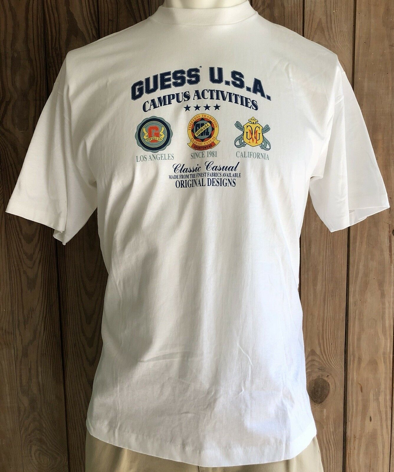 Guess Jeans Men's Large Tshirt Vintage 90's USA Spell Out Campus Activities