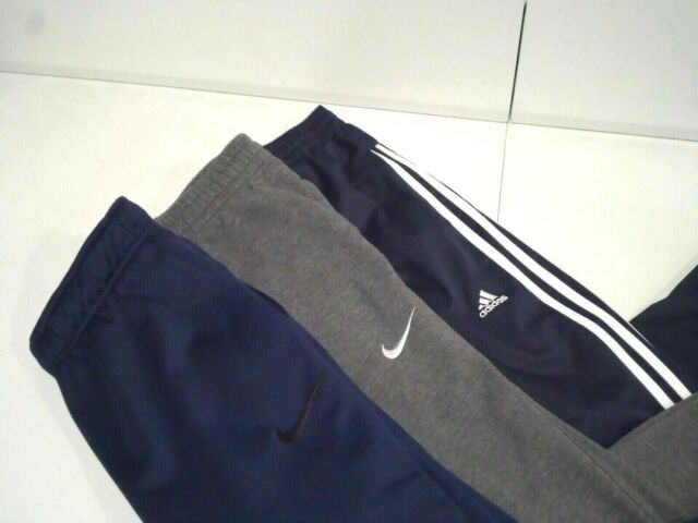 Lot of 3 Nike & Adidas Men's Sweatpants Size Small Warm Up Dri-Fit Navy Blue