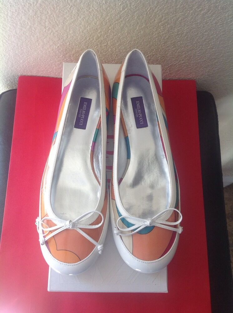 EMILIO PUCCI ITALY BRAND NEW IN BOX MULTICOLOR FLAT PUMPS HEELS SHOES SZ 36.5