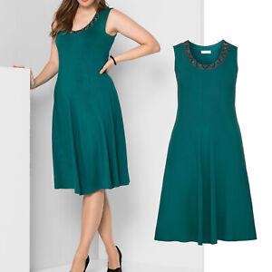wunderschoen-elegant-Gr-44-46-Jerseykleid-Kleid-gruen-smaragd-Sommerkleid-Perlchen