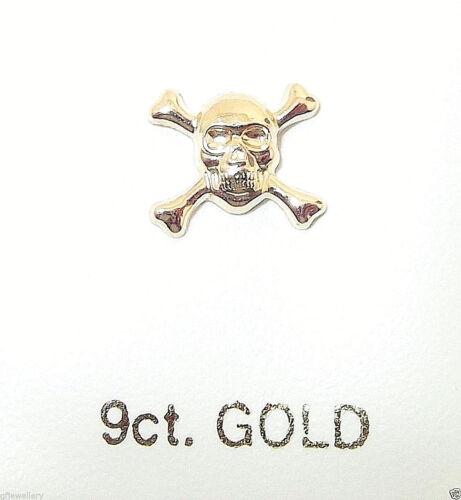 9CT HALLMARKED GOLD SKULL /& CROSSBONES 8MM X 7MM  STUD EARRING SINGLE OR PAIR
