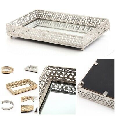 DISPLAY TRAY Mirror Glass Antique Decorative Silver Candle Plate LARGE 28cm TOP