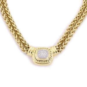 David-Yurman-Albion-Diamond-18k-Yellow-Gold-Pendant-Double-Chain-Necklace