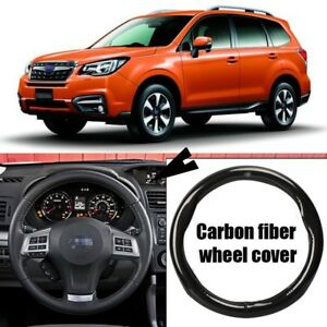 For-Subaru-Forester-Carbon-Fiber-Leather-Steering-Wheel-Cover-Sport-Racing-Black