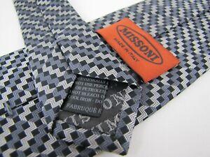 New-MISSONI-Tie-Black-Gunmetal-Gray-ZigZag-Stripes-Made-in-Italy-Necktie