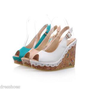 Women-039-s-High-Heel-Wedge-Shoes-Peep-Toes-Platform-Slingbacks-Sandals-AU-Size-S015