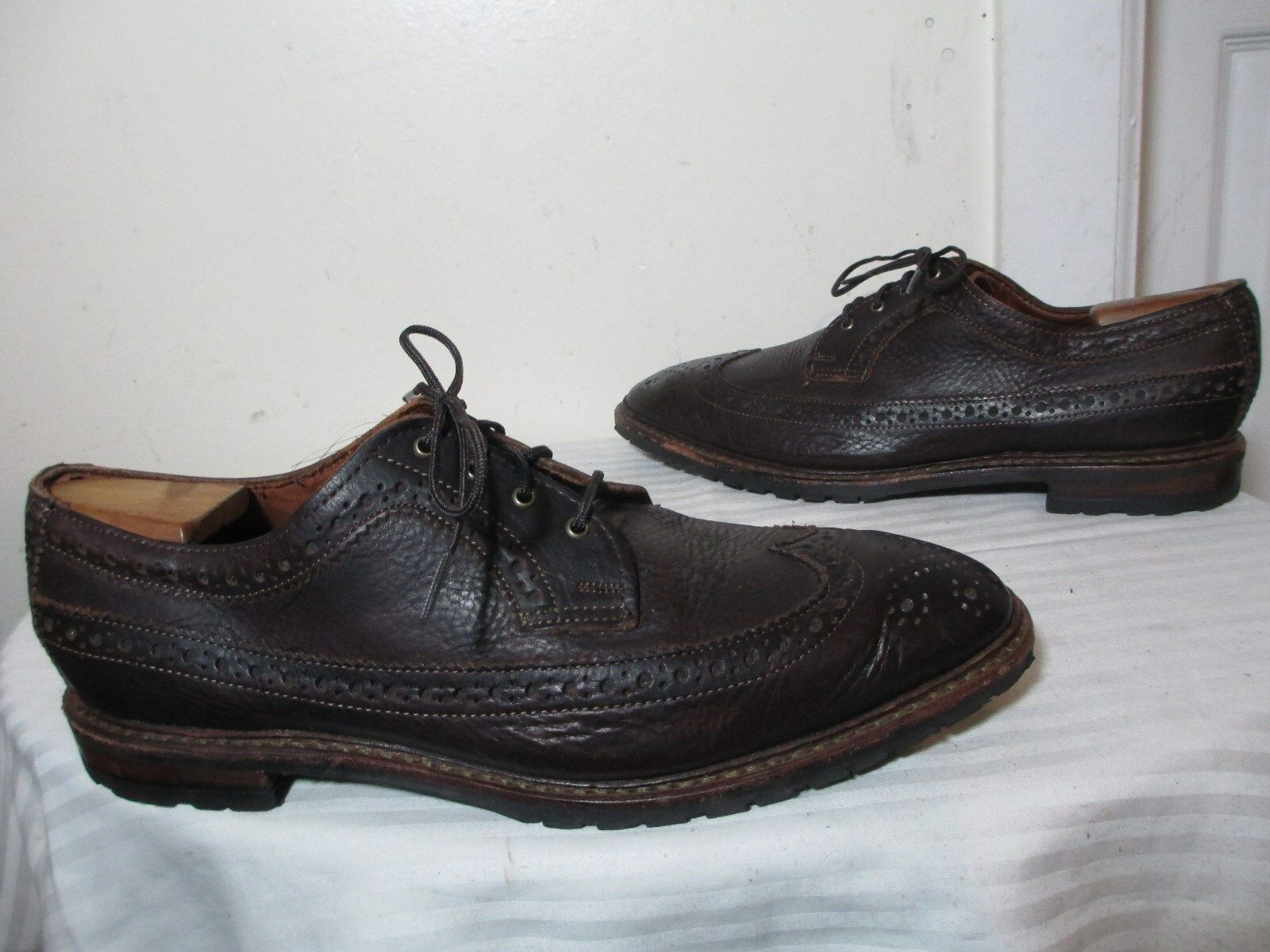 BROOKS BrougeHERS DARK marron PEBBLE LEATHER WINGTIP OXFORDS SZ 11 D MADE IN USA