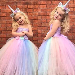 ccb8365ff35e Flower Girl's Unicorn Dress Princess Cosplay Costumes for Kid's ...