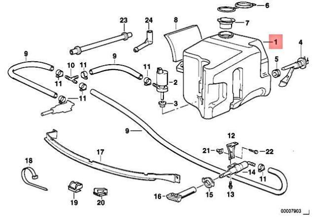 Genuine BMW 760Li Washer-Headlight Head Light-Filler Pipe Filler Pipe For Wash 6